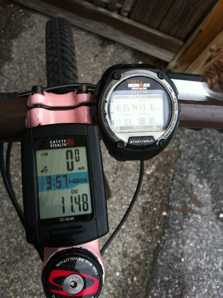 Cateye Stealth 50 (left) and Timex Global Trainer (right)