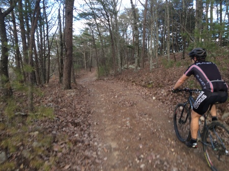 brian riding on bob hood branch trail